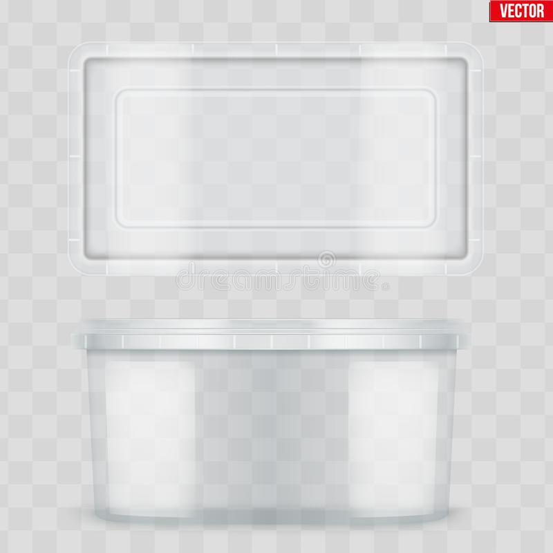 Stellen Sie vom klaren Plastikbeh?lter f?r Nahrung ein stock abbildung