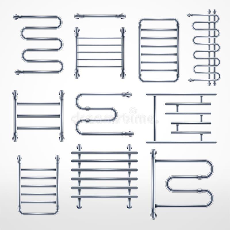Stellen Sie vom Metallhandtuchhalter ein Kombinierter erhitzter LuxusHandtuchhalter des realistischen Chroms und Spulenrohr lizenzfreie abbildung