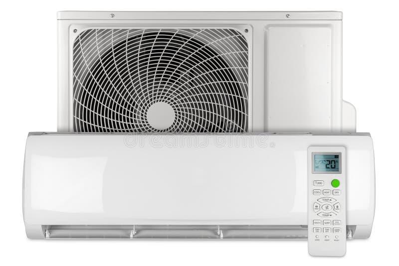 Stellen Sie vom mini aufgeteilten System der Klimaanlagenwechselstrom-InverterWärmepumpe mit Inneneinheit im Freien und lokalisie stockbild