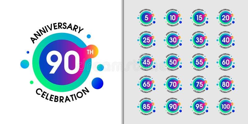 Stellen Sie vom modernen Jahrestagsfirmenzeichen ein Bunter Jahrestagsfeier-Emblementwurf für Unternehmensprofil, Broschüre, Bros lizenzfreie abbildung