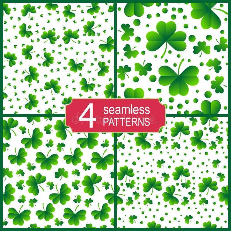 Stellen Sie vom nahtlosen Muster mit Kleeblättern ein Patrick `s Tageshintergrund Vektorabbildung EPS10 lizenzfreie abbildung
