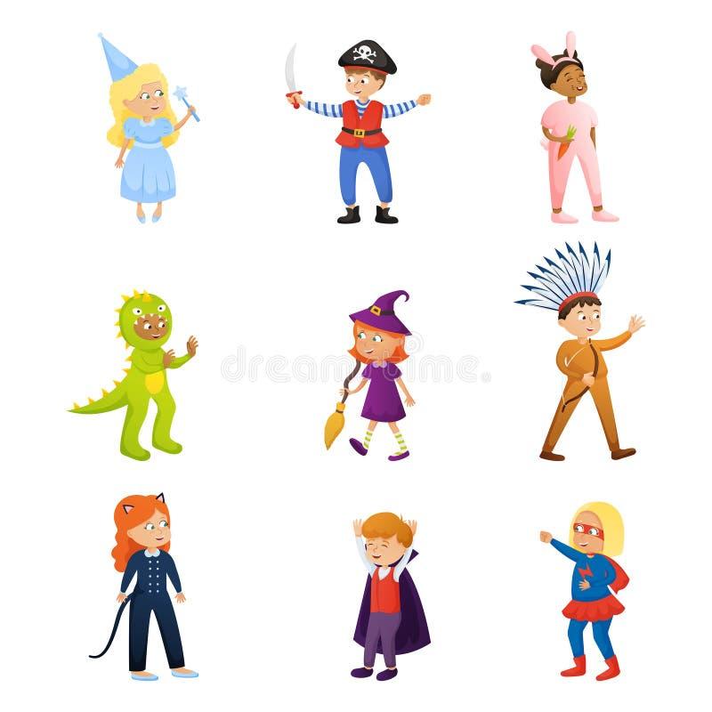 Stellen Sie vom netten lächelnden Kindercharakter in der unterschiedlichen Festtagskleidung ein lizenzfreie abbildung
