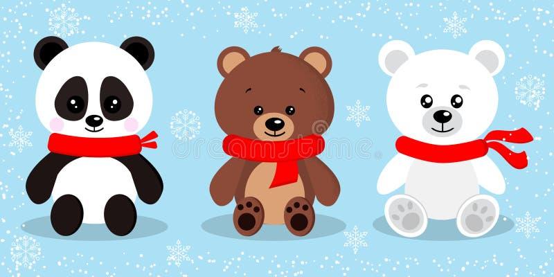 Stellen Sie vom netten lokalisierten Weihnachtsbären in den roten Schals in sitzender Haltung ein stock abbildung