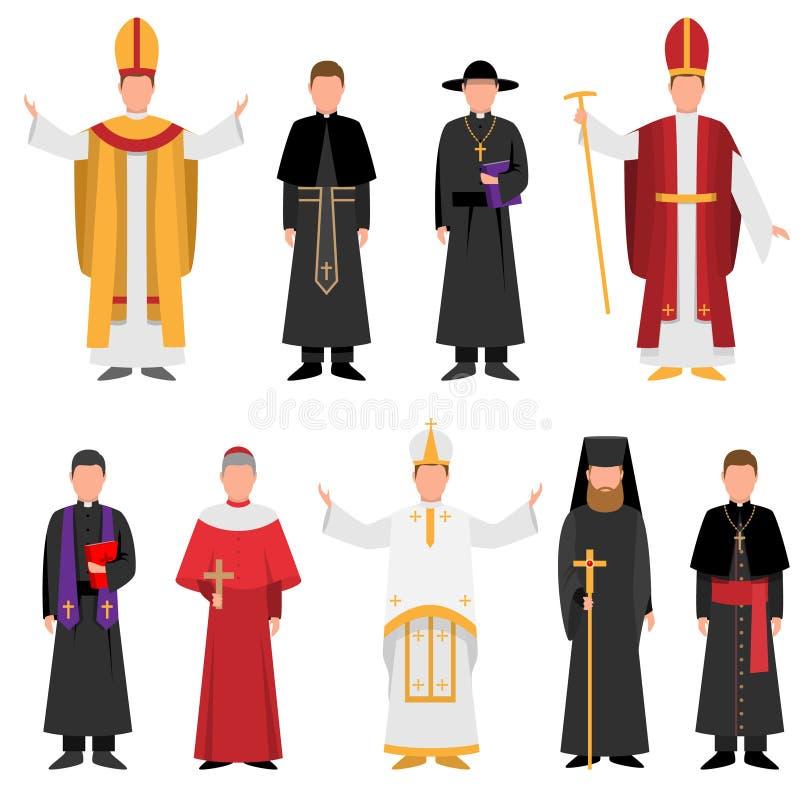 Stellen Sie vom Priester der katholischen oder christlichen Religion in der unterschiedlichen Kleidung ein lizenzfreie abbildung
