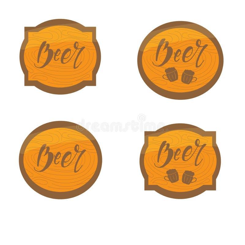Stellen Sie vom Rahmen mit hölzerner Beschaffenheit mit Bieraufschrift ein Auch im corel abgehobenen Betrag beschriftung Aufklebe vektor abbildung