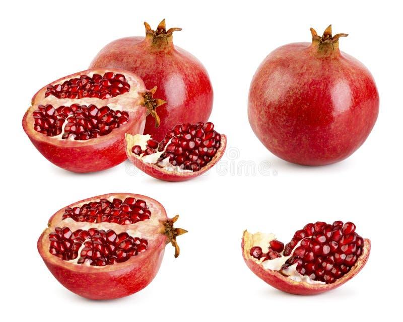 Stellen Sie vom reifen Granatapfel, von der Hälfte und vom Stück auf einem weißen Hintergrund ein lizenzfreie abbildung