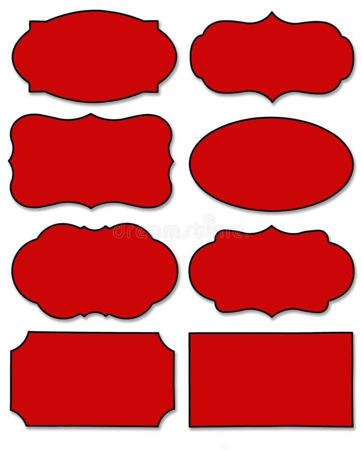 Stellen Sie vom roten Aufkleber mit unterschiedlicher Form lokalisiert auf weißem Hintergrund ein lizenzfreie abbildung