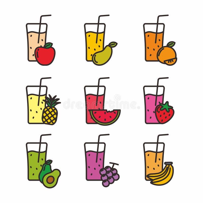 Stellen Sie vom Saft im Glas mit den Früchten ein, die auf Weiß lokalisiert werden vektor abbildung