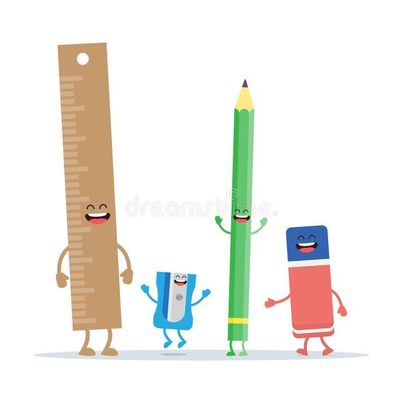 Stellen Sie vom Schul- und BürobriefpapierVersorgungsmaterialsatz ein vektor abbildung