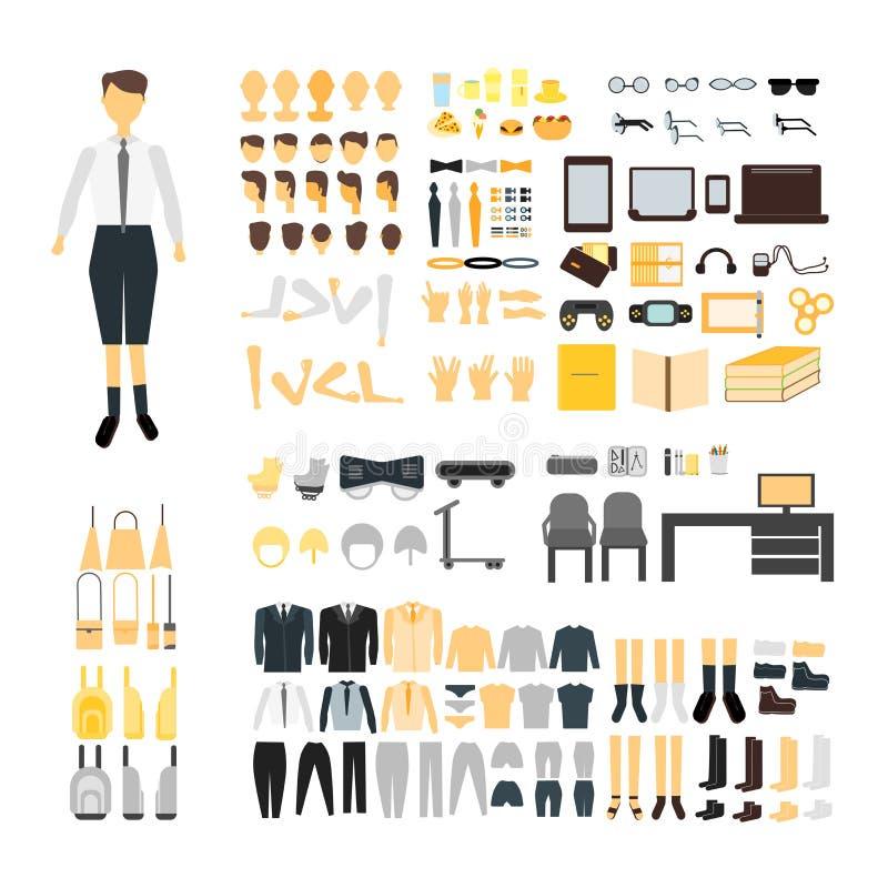 Stellen Sie vom Schuljungen-Erbauercharakter-Ausrüstungssatz ein Männliche Körperteile, Uniform, Tasche, Rückseite und vordere Ge stock abbildung