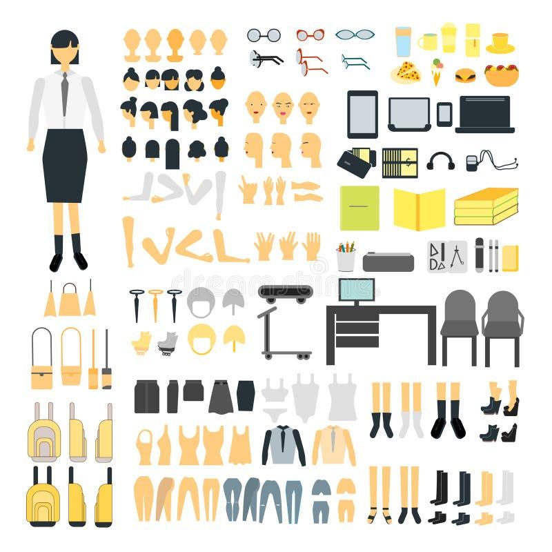 Stellen Sie vom Schulmädchenerbauercharakter-Ausrüstungssatz ein Weibliche Körperteile, Uniform, Tasche, Rückseite und vordere Ge vektor abbildung