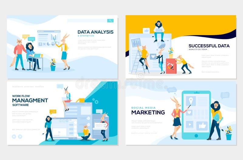 Stellen Sie vom Social Media-Marketing, Datenanalyse, Management App ein und sich beraten, Geschäftsprojekt Vektorillustration fü stock abbildung