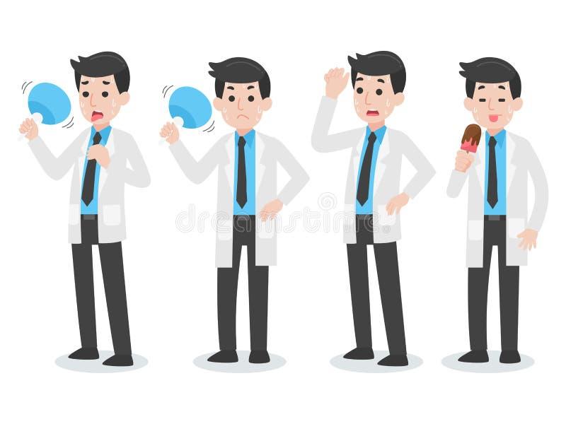 Stellen Sie vom Sorgfalt-Sommerkonzept Doktors Character Medical Health ein lizenzfreie abbildung