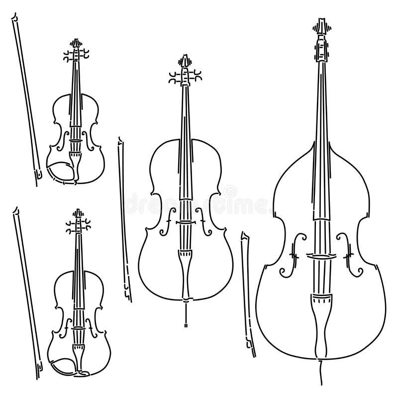 Stellen Sie vom Vektor beugte die aufgereihten Musikinstrumente ein, die durch Linien gezeichnet werden stock abbildung