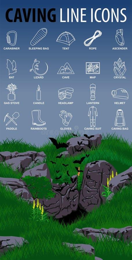 Stellen Sie vom Vektor ein, der dünne Linie Ikonen speleo Reise mit Höhle und Schlägern aushöhlt lizenzfreie abbildung