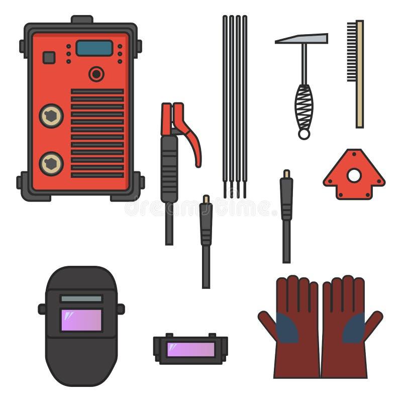 Stellen Sie vom Vektorillustrations-Schweißensbogen-Ausrüstungsmaschinenhandschuhsturzhelm-Halterhammer ein vektor abbildung