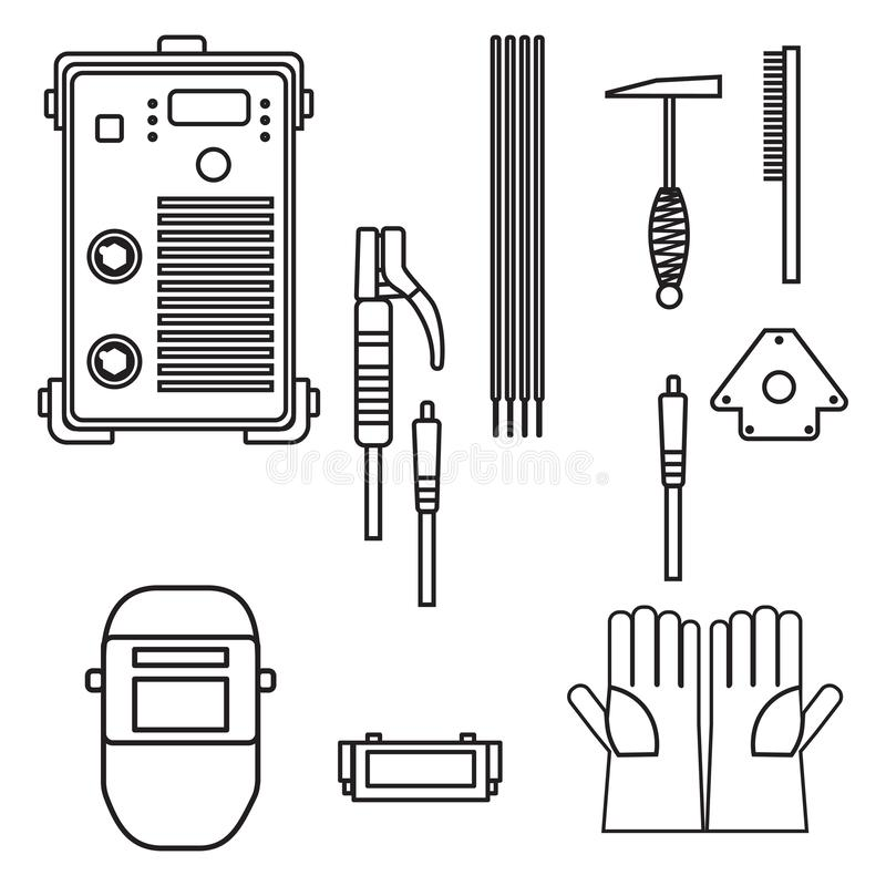 Stellen Sie vom Vektorillustrations-Schweißensbogen-Ausrüstungsmaschinenhandschuhsturzhelm-Halterhammer für Industriebau ein stock abbildung