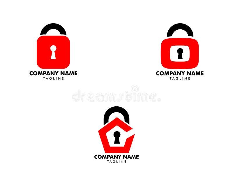 Stellen Sie vom Vorhängeschloss-Ikonen-Vektor Logo Design Template ein stock abbildung