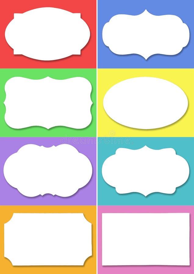 Stellen Sie vom weißen Aufkleber mit unterschiedlicher Form auf unterschiedlichem buntem Hintergrund ein vektor abbildung