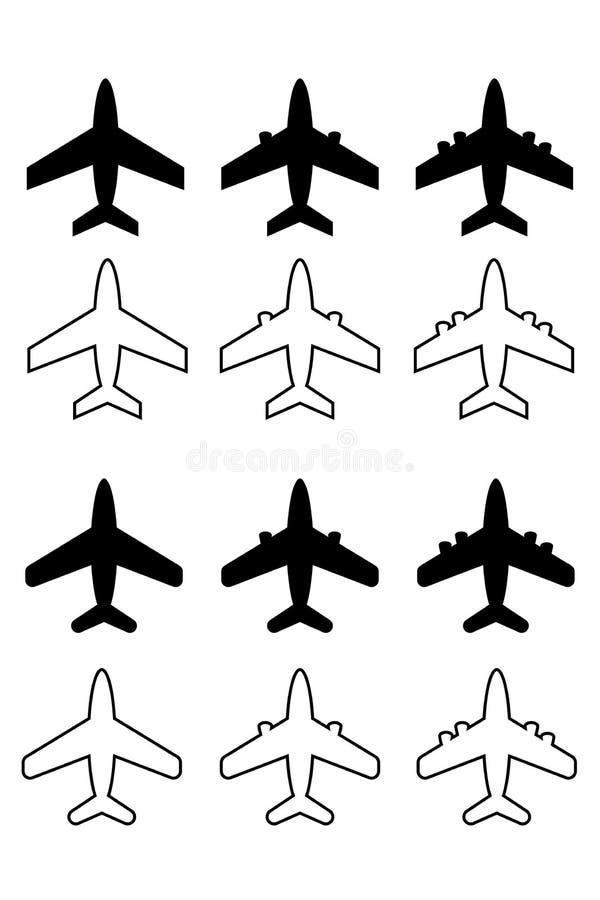Stellen Sie vom weißen Hintergrund der verschiedenen Flugzeugikonen ein lizenzfreie abbildung