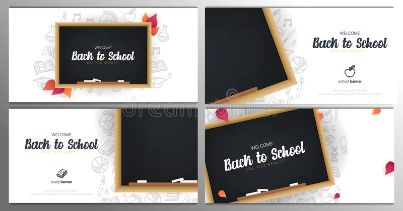 Stellen Sie vom Willkommen zurück zu Schulfahnen mit Tafel und weißem Gekritzelhintergrund des Handabgehobenen betrages ein stock abbildung