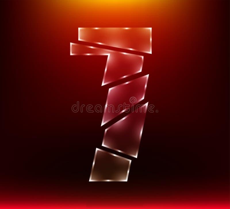 Stellen Sie von abstraktem Polyluxusglashieb sieben des zahlcharakters 7 durch Klinge mit rote Farbhintergrund ein Illustration e lizenzfreie abbildung