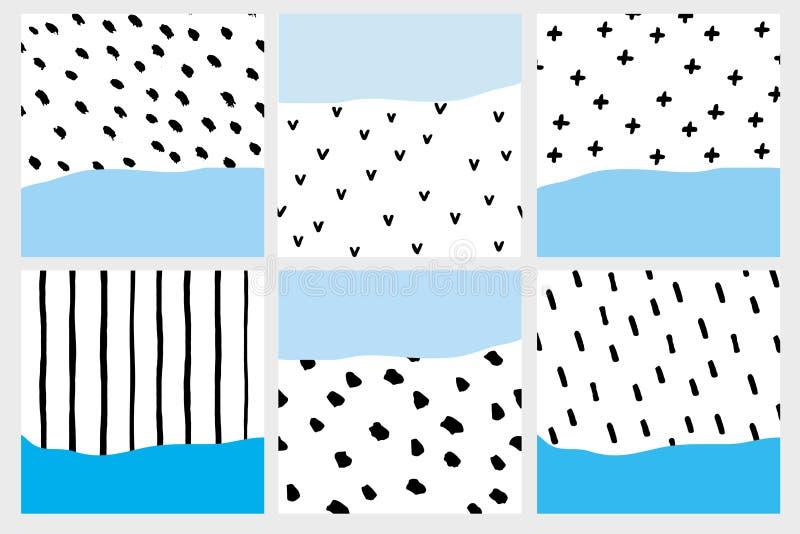 Stellen Sie von 6 abstrakten geometrischen Illustrationen ein Die schwarze gezeichnete Hand bürstete Punkte, Streifen, Linien lizenzfreie abbildung
