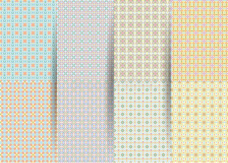Stellen Sie von 6 abstrakten nahtlosen karierten geometrischen Mustern ein Vektor gelbes geometrisches ackground f?r Gewebe, Druc lizenzfreie stockfotos