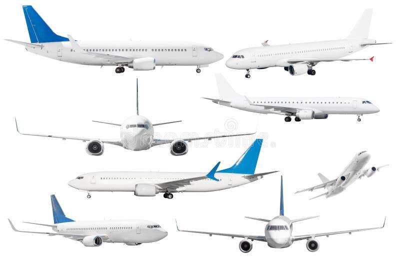 Stellen Sie von acht Flugzeugen ein, die vom weißen Hintergrund lokalisiert werden stockbilder