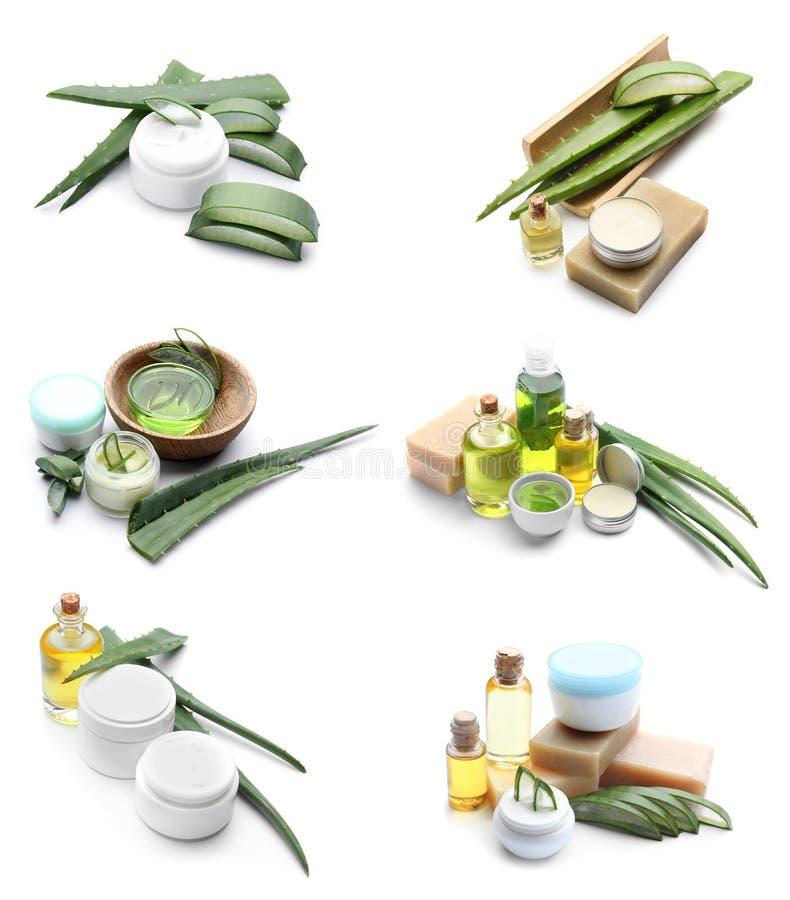 Stellen Sie von Aloe-Vera-Kosmetik auf weißem Hintergrund ein lizenzfreies stockbild