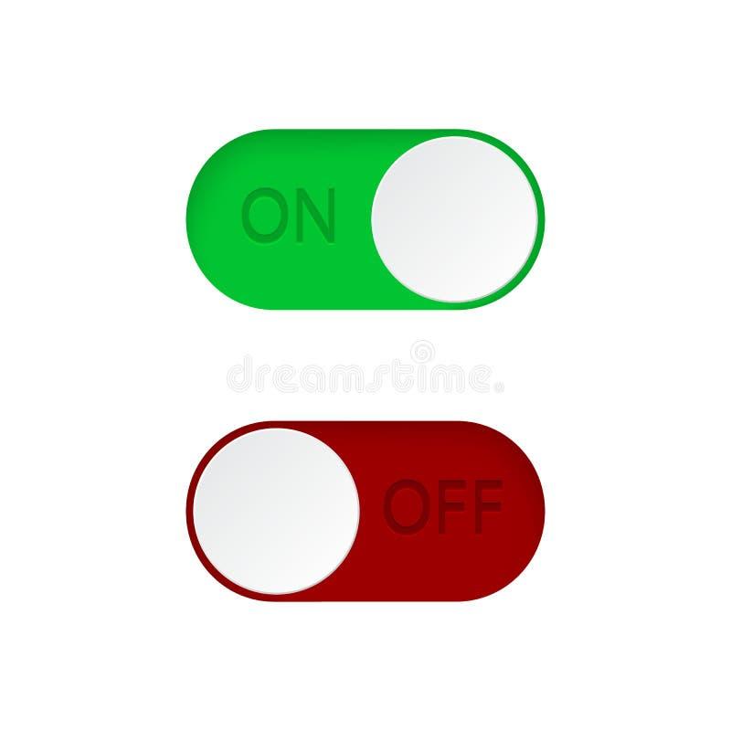 Stellen Sie von auf und weg von Kippschalterknöpfe ein Grüner und roter Schalterknopfsatz Toggle-Dia für mobilen App, Social Medi vektor abbildung