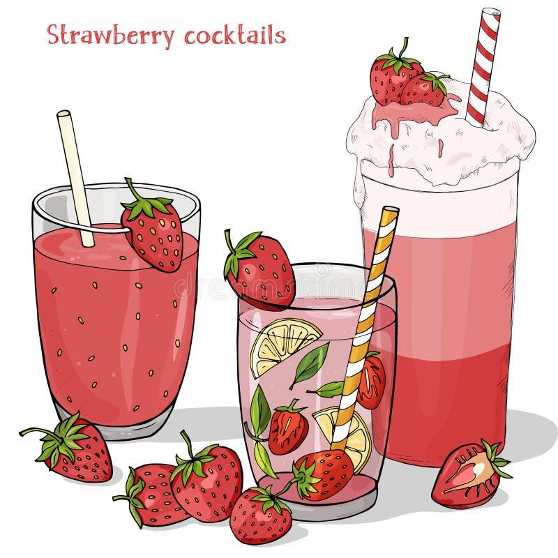 Stellen Sie von Auffrischungssommergetränken von den Erdbeeren ein Milchshake, Erdbeere Mojito, neues Getränk und frische Erdbeer vektor abbildung