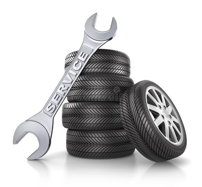 Stellen Sie von Autoräder amd Reifen ein lizenzfreie abbildung