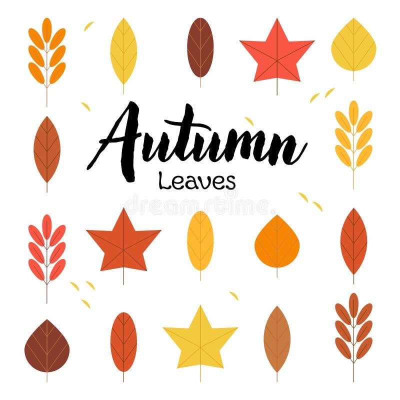 Stellen Sie von Autumn Leaves und von der Beschriftung ein stock abbildung