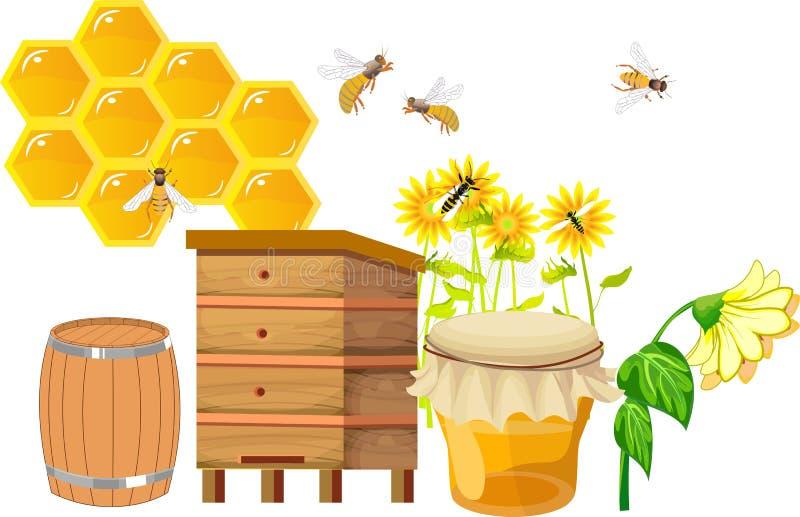 Stellen Sie von beekebing Themaeinzelteilen, Bienenstöcke ein, stock abbildung