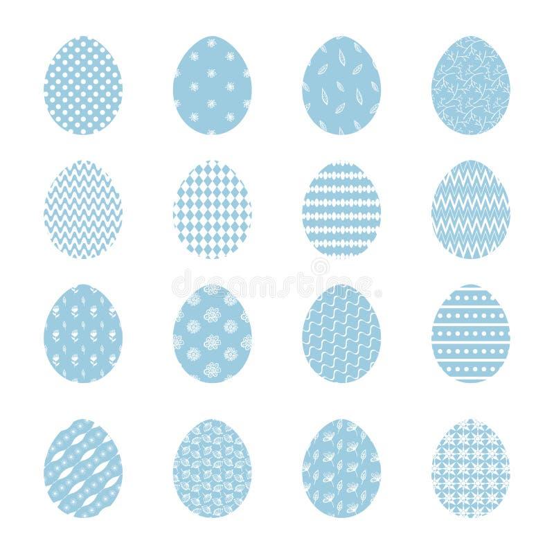 Stellen Sie von blauen Ostereiern mit weißer Dekoration ein vektor abbildung