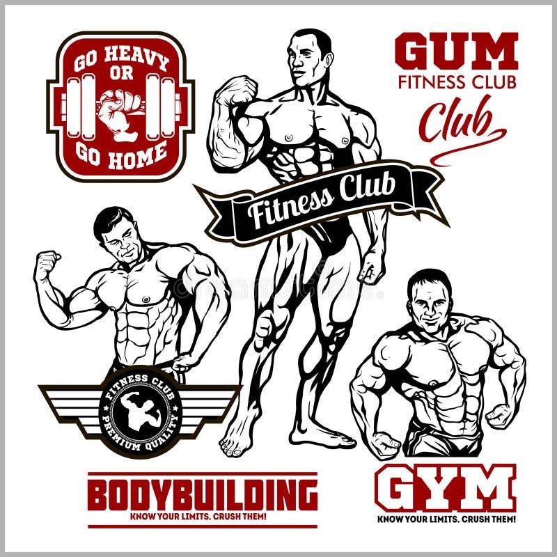 Stellen Sie von bodybuildenden Emblemen mit Sportausrüstung ein Auch im corel abgehobenen Betrag stock abbildung