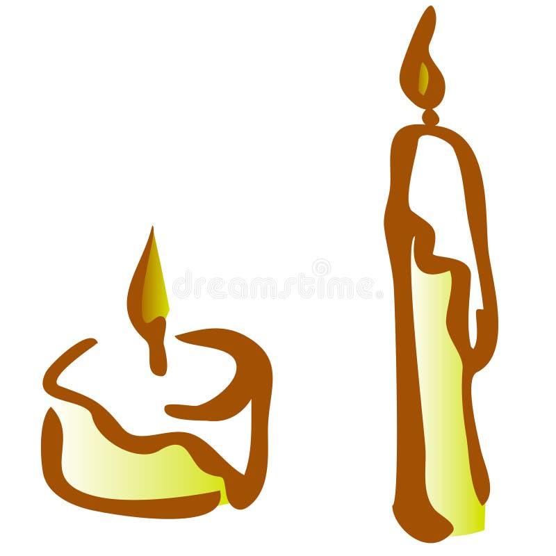 Stellen Sie von brennender Kerzenlinie Kunstillustration des Schattenbildes ein vektor abbildung