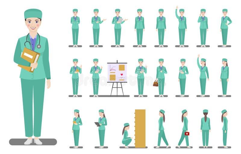 Stellen Sie von Charakterdoktorfrau in der gr?nen Arbeitskleidung in den verschiedenen Haltungen auf einem wei?en Hintergrund ein lizenzfreie abbildung