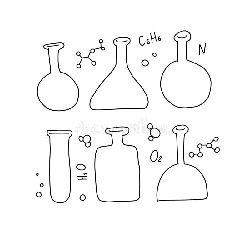 Stellen Sie von 6 Chemie-Reagenzgläsern, Flasche mit verschiedenen Formen ein, die Vektor Skizze umriß Ausbildung und Wissenschaf vektor abbildung