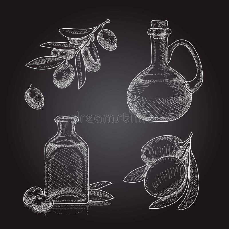 Stellen Sie von den Ölzweigen mit Oliven und Flaschen mit Olivenöl ein Hand gezeichnete Skizze auf schwarzem Hintergrund stock abbildung