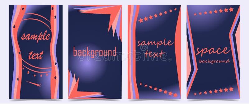Stellen Sie von den Abdeckungen mit abstrakten Formen auf dunkelblauem Hintergrund ein stock abbildung