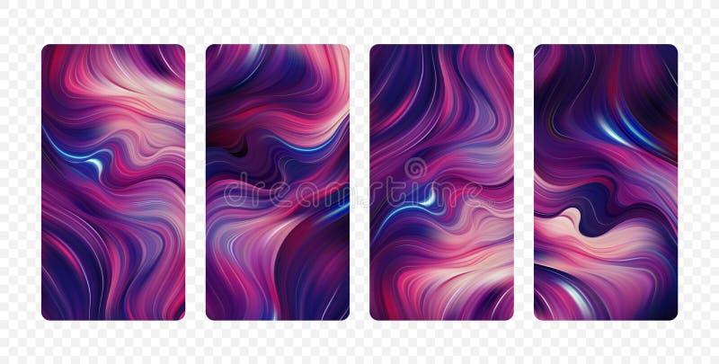 Stellen Sie von den abstrakten bunten Flusshintergründen ein Moderner Schirmentwurf f?r App stock abbildung