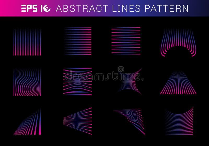 Stellen Sie von den abstrakten Linien Musterelemente blaue und rosa Farbe auf schwarzem Hintergrund ein vektor abbildung