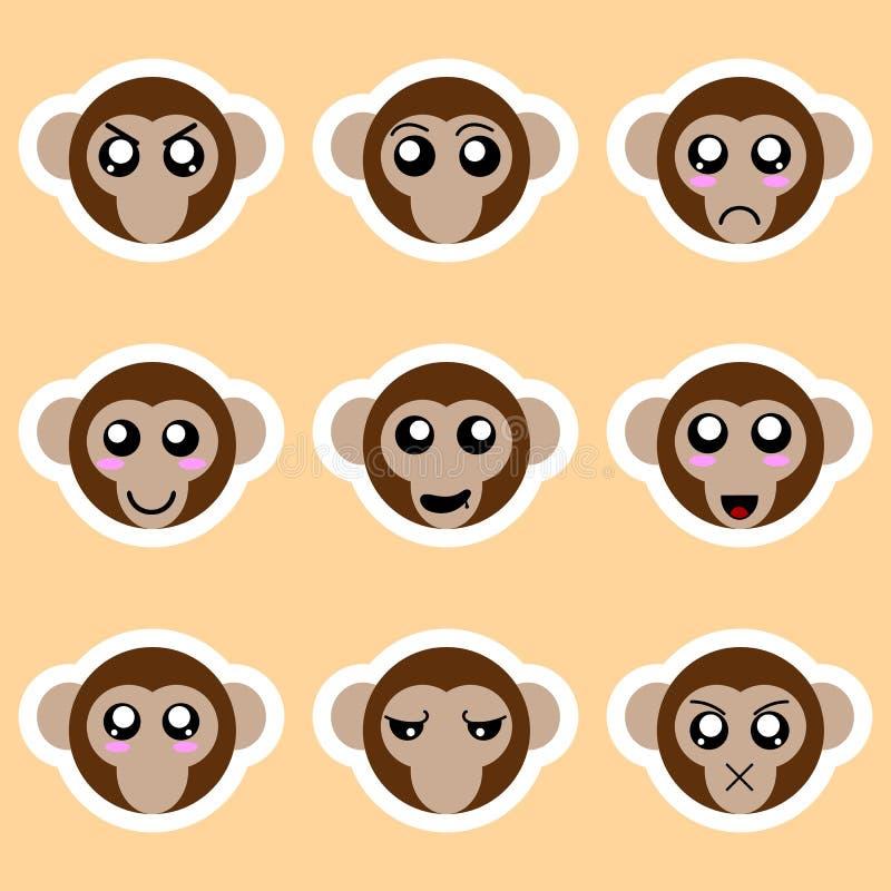 Stellen Sie von den Affeaufklebern ein Verschiedene Gefühle, Ausdrücke Aufkleber in der Animeart Vektorabbildung für Ihr design stock abbildung