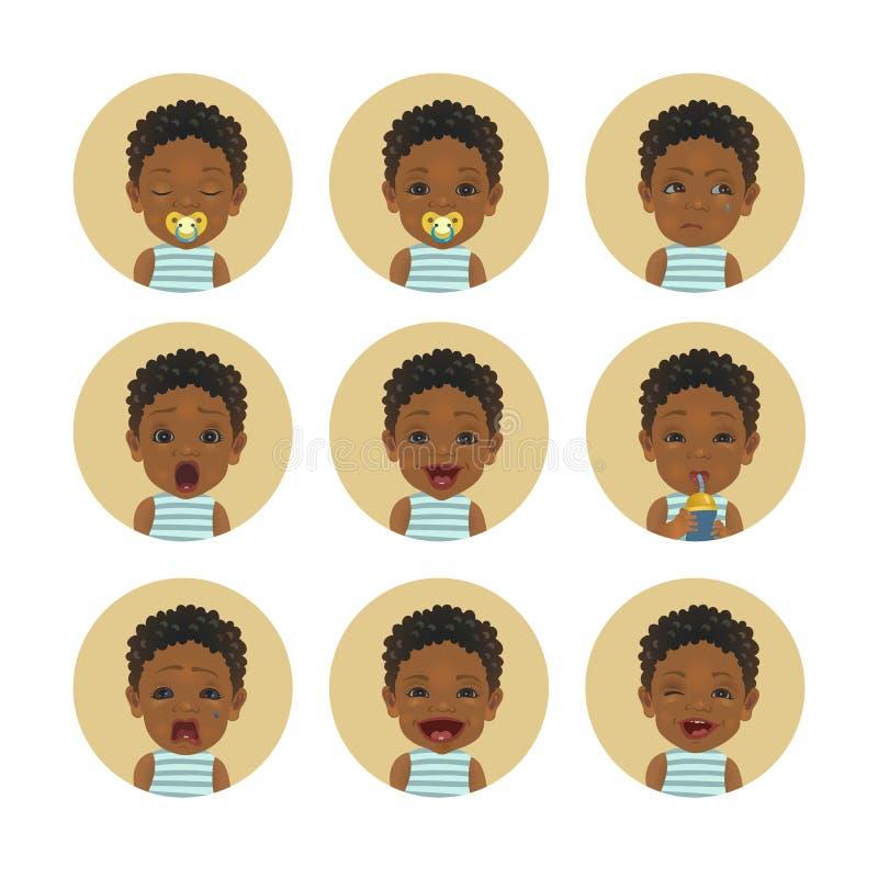 Stellen Sie von den afrikanisches Kindergesichtsausdrücken ein Afroe-amerikanisch Baby Emoticons Netter schwarzer Hautkleinkindsm lizenzfreie abbildung