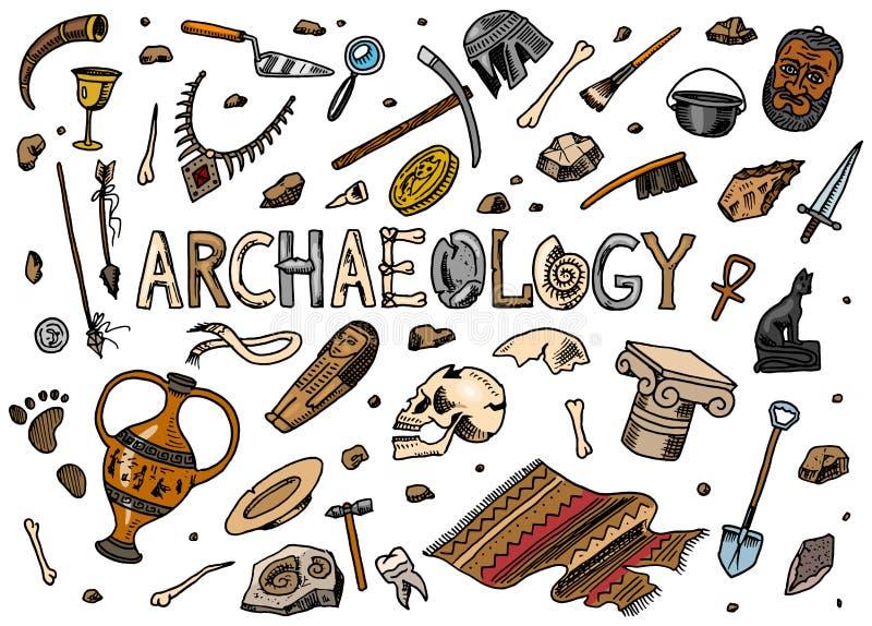 Stellen Sie von den Arch?ologiewerkzeugen, Wissenschaftsausr?stung, Artefakte ein Ausgegrabene Fossilien und alte Knochen Hand ge vektor abbildung