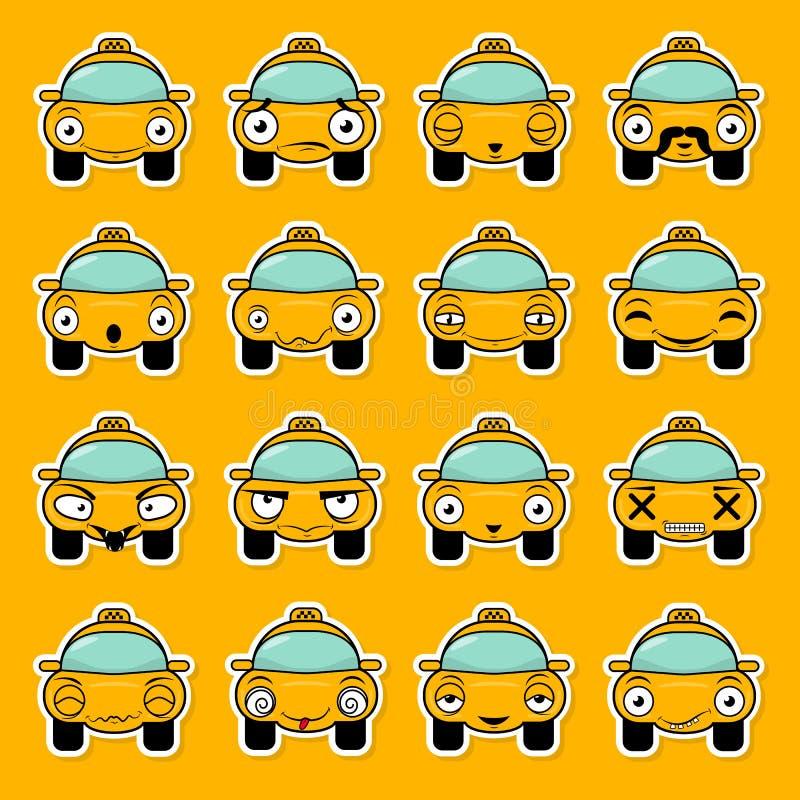 Stellen Sie von den Aufklebern in Form eines Karikaturtaxis mit verschiedenen Gef?hlen ein Lustiger Auto-Vektor-Entwurf Kommunika stock abbildung