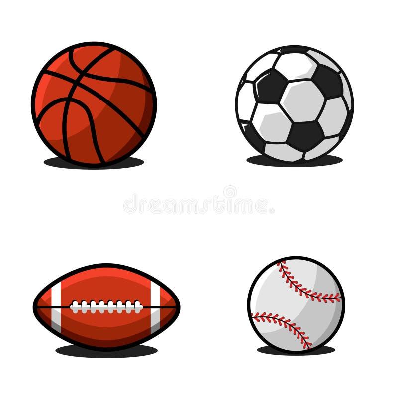 Stellen Sie von den Bällen für Fußball oder Fußball, Basketball, amerikanischer Fußball oder Rugby, Baseball ein Sammlung Sportau lizenzfreie abbildung