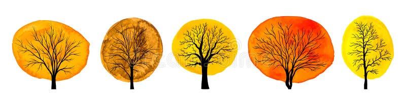 Stellen Sie von den Bäumen mit dem Herbstaquarelllaub ein, das auf weißem Ba lokalisiert wird stock abbildung